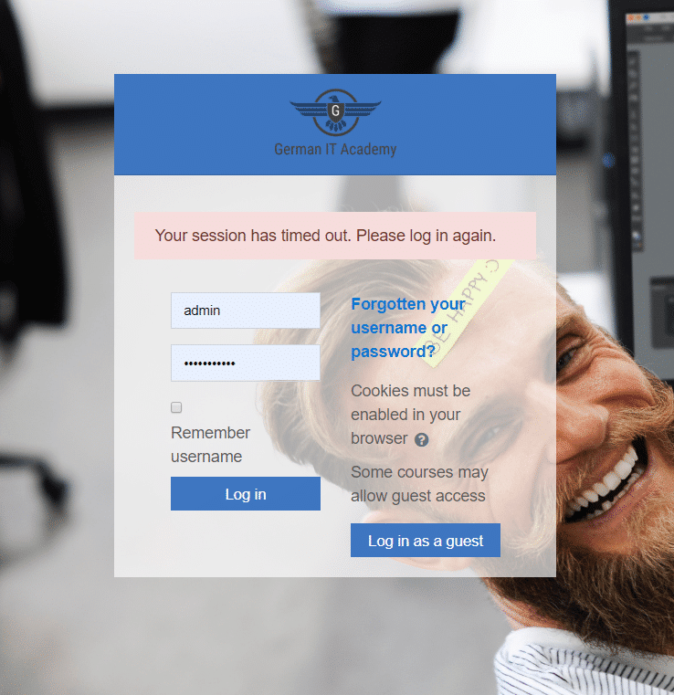 eLearning Classroom Login Page